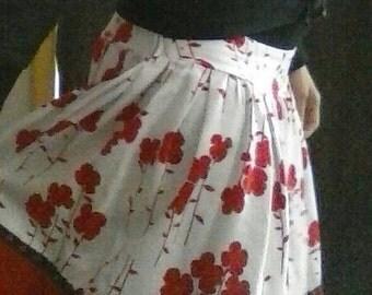 Red & White Floral Circle Skirt Large/X-Large Vintage