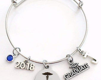 Gift for Chiropractor Graduation Bracelet, 2017 2018 Spine Doctor Student Grad Bangle, Jewelry Graduate Student Charm Scroll Initial women