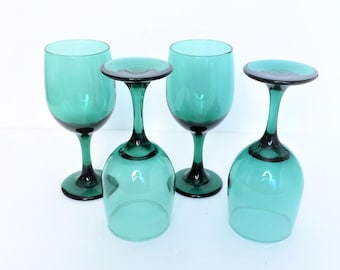 Teal wine glasses, Set of 4