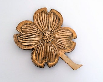 Brass Dogwood Flower Trivet or Wall Hanging, Wall Decoration Brass, Dogwood Blossom in solid brass, large