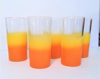 Blendo Glasses, Sunrise Orange and Yellow Ombre frosted Drinking Glasses, Set of 5, Blendo West Virginia