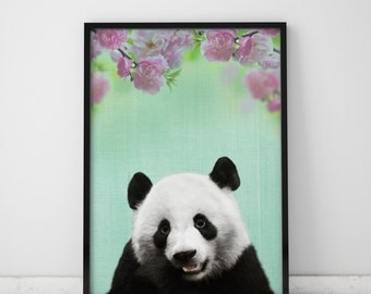 Panda Wall Art Panda Print Baby Room Decor Baby Girl Nursery Panda Art Panda Bear Panda Poster Baby Room Wall Art Baby Room Art