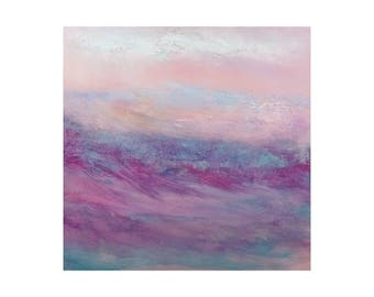 Pink mauve blue blush white abstract painting Cloud Wave Contemporary Original Wall art Home Soft Artwork Gift for women sister girl mum