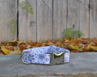 Grey and White Snowflake Dog Collar