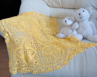 Hand crochet small baby blanket gender neutral new baby Photo prop coming home afghan Newborn shower gift Christening wrap yellow nursery