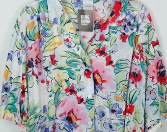 Vintage shirt, 80s clothing, shirt 80s, flower print, short sleeves, oversized