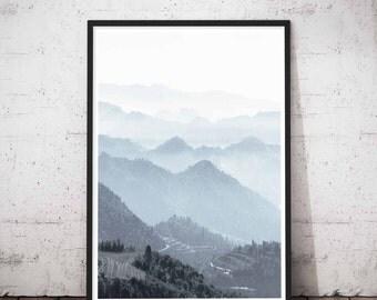 Mountain Wall Decal, Mountain Range, Printable Wilderness, Adventure Time Print, Nordic Style Decor, Minimalist Art Large, Travel Prints Set