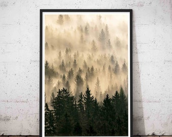 Forest Woodlands Wall Art Decor, Fog Print, Printable Large Abstract Modern Minimalist, Woodlands Decor,Printable Instant Digital Download