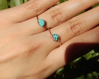 Dainty Turquoise rock Ring Copper Bronze Bohemian Gypsy Gemstone Natural Blue stone Ring Aqua Gem
