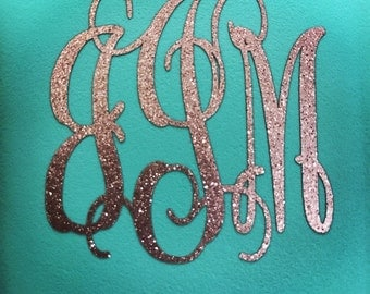 Glitter Sparkle Monogram Decal | Initial Decal | Vinyl Decal Sticker | Yeti Decal | Laptop Decal | Waterbottle Decal | Car Decal