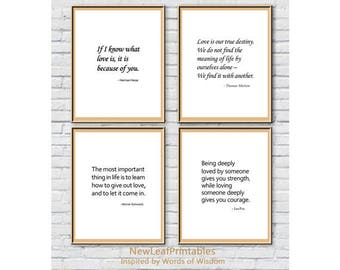 Printable Quote set,Hermann Hesse,Thomas Merton,Morrie Schwartz, Lao-Tzu,love quote,Printable Wall Art Print,Instant Digital Download Art