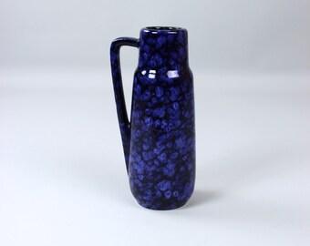 Vintage Scheurich vase, 275-20 ceramic vase, flower vase, race glaze blue, fat lava handle vase, 60s
