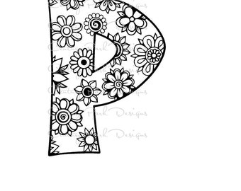 Letter P Alphabet Flowers SVG / JPEG / PNG /pdf / use with Silhouette Studio and Cricut Design Space - Commercial Use - Adult Coloring Page