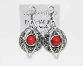 Wire wrapped jewelry Boho chic Woman gift Red earrings Bridesmaids gift idea for her