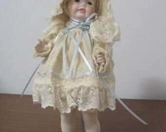 "Porcelain Doll, 9"" Tall, Phyliss Parkins, 1984, Sam Mold, Vintage"
