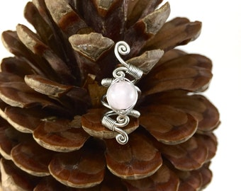 Rose Quartz Dread beads, Dreadlock beads, wire dread wrap, Dreadlock wrap, crystal dread beas