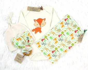 Gender Neutral Baby, Organic Baby Clothes, Woodland Fox, Woodland Friends, Fox Baby Shower, Baby Shower Gift, Organic Gift Set