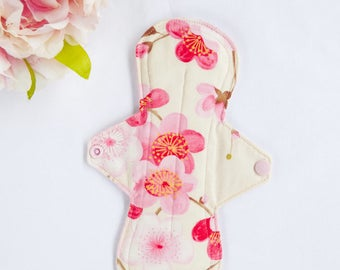 1x Cloth menstrual pads,cloth pads, panty liners, mama cloth, pick your flow & length, pretty peach blossom