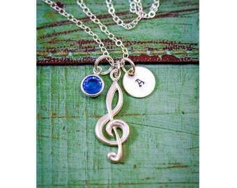 SALE • Music Jewelry • Personalized Music Teacher Gift • Treble Clef Jewelry  • Band Marching Singing Gift  •Music Musician Jewelry Initial