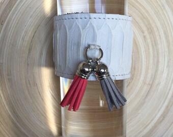 100% Genuine Python Snakeskin Tassel Wrap Cuff Bracelet with Adjustable Strap