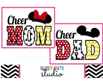 Cheer Mom Dad Dance Dad Mom Family Matching Vacation Classic Red Yellow White Mickey Mouse Cheer Team Disney Iron On Decal Vinyl 4 Shirt 257