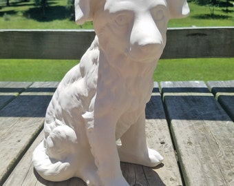 bisque fired, ready to paint, labrador retriever dog statue