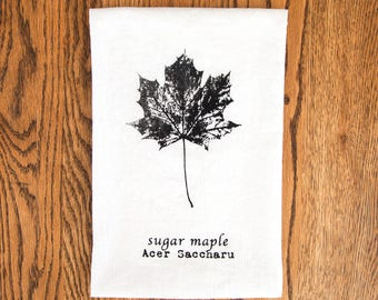Maple Leaf Tea Towel, Nature Screen Printed Kitchen Towel, Canada tea towel, nature kitchen linen, Canada 150, hostess gift, forest print