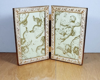 5x7 whitewashed gold bi fold table top double frame ornate photo frame mid century standing metal picture frame wedding decor