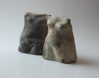 ceramic sculpture, ceramic figurine, Smoke – Fired Pottery, clay sculpture, Torso Sculpture, Ceramic Figurine, Pottery Handmade,4009