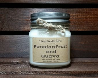 8oz Mason Jar Candle -  - Soy Candles Handmade - Fruit Candle - Gift Idea for Women - Passionfruit and Guava - Scented Candle