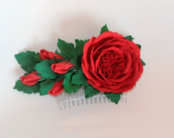 Flowers girl hair comb Red roses hair comb Wedding hair flower comb Bridal flower Red flower Hair comb flowers Hair flowers roses
