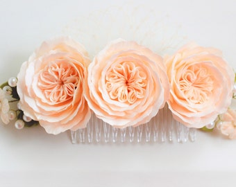 Hair comb ivory roses Wedding hair flower comb Bridal flower Ivory flower Hair comb flowers Hair flowers ivory roses