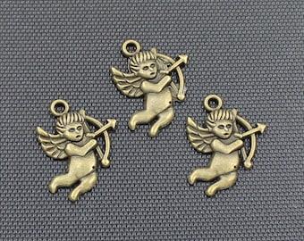 20pcs Cupid Charm Antique Bronze Tone 16x22mm - BH371