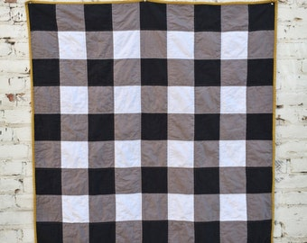 Linen Buffalo Check Quilt | Modern Baby Quilt | Throw Quilt