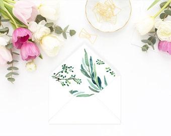 Printable Envelope Liner  | Botanical Envelope Liner | Envelope Liner Template - Eucalyptus