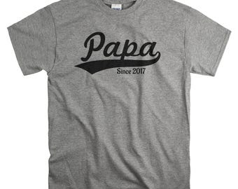 Gift for New Dad First Father's Day Gift - Papa Since 2017 Shirt - Fathers day T-shirt - New Father Tshirts - Personalize to Any Year