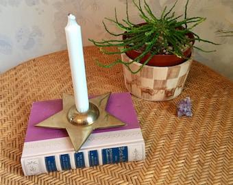 Brass Candlestick Holder Mid Century Modern Star Atomic