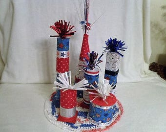 JULY 4th PATRIOTIC Faux-Fireworks Crocheted Centerpiece