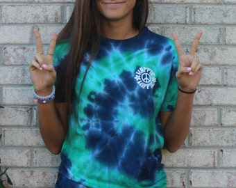 Blue and Green Tie-Dye T-Shirt