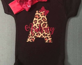 Monogram outfit/ Glitter Name Monogram bodysuit/ Personalized bodysuit/ Custom Baby Girl Outfit/ Take me home/ Leopard monogram outfit