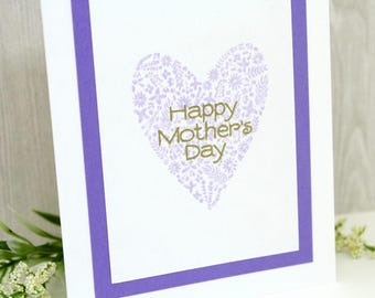 Happy Mother's Day Card - Handmade Mother's Day Card - Hand stamped & Embossed Card for Mother's Day - Card for Mom - Card for Mum