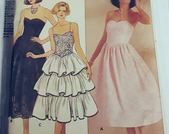 1985 Butterick 3120 Misses Tiered Ruffle Evening Prom Bridesmaid Dress Sizes 6-10 uncut FF Sewing Pattern