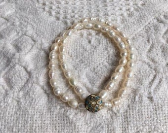 Unique Freshwater Pearl Beaded Bracelet-Antique Painted Metal Button-Stretch Bracelet-Upcycled Bracelet-Button Jewelry-Sterling Silver Bead