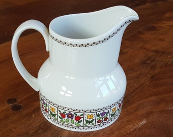 Beautiful Royal Doulton 'Fireglow' milk jug, half pint. Finely detailed colourful pattern, fine china from Staffordshire, England, 1970's