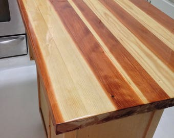 Farmhouse Wood Table Top, Butcher Block Workbench Top Or Kitchen Island.  Natural Oiled Or