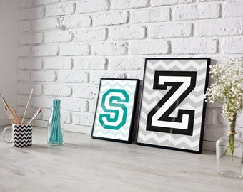 Personalised Letter print, Alphabet print, personalised print, boys room print, college print, varsity print, girls room print