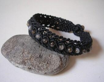 Macrame bracelet, bead bracelet, gemstone bracelet, chalcedony bracelet, bracelet with black chalcedony, custom, black