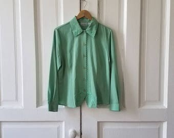 Vintage Claudia Richard Women's Sage Embroidered Blouse