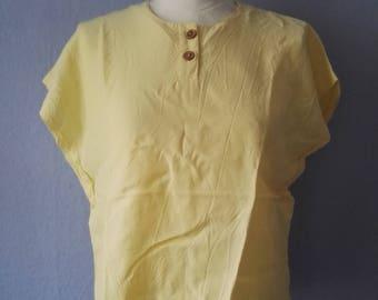 90s blouse true vintage M short yellow summer spring box-shaped box blouse athletic minimalist