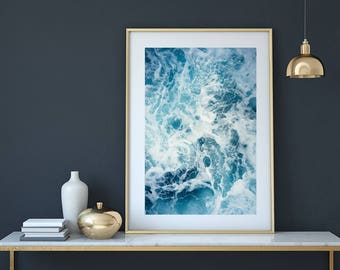 Ocean print, ocean wall art, ocean photography, water print, ocean waves print, coastal print, blue wall art, sea print, ocean poster,